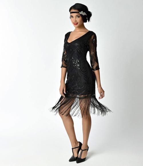 Adult Margaux Black Fringe Flapper Dress