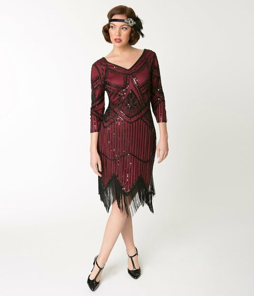 Adult Noemie Red Sequined Flapper Dres