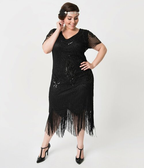 9419428b0b0 Adult Plus Valentine Black Beaded Flapper Dress
