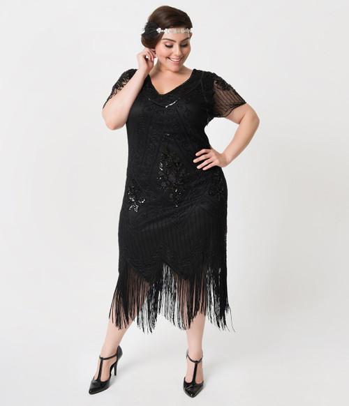 Valentine Black Beaded Flapper Dress - Plus Size