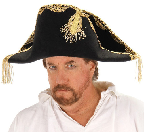 Black Barbossa Pirate Hat With Gold Embroidery