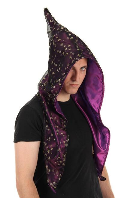 Purple Satin Alchemy Wizard Hood With Gold Stars