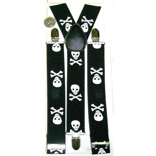 Skull & Cross Black Costume Suspenders