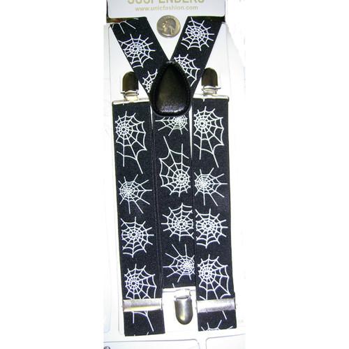 Spider Web Black Costume Suspenders