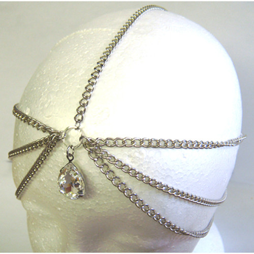 Silver Head Chain & Dangling Stone