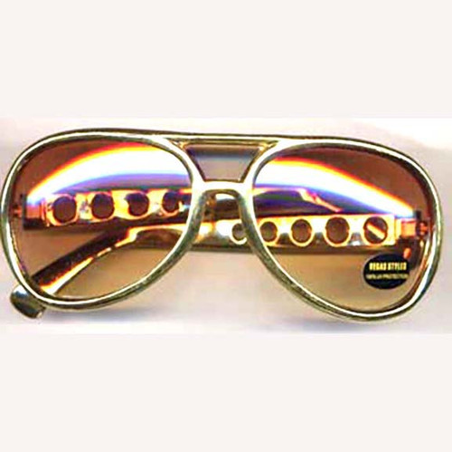 Flashy Elvis Aviator Costume Sunglasses - Gold