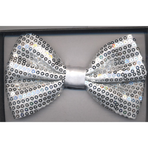Silver Sequined Formal Bow Tie