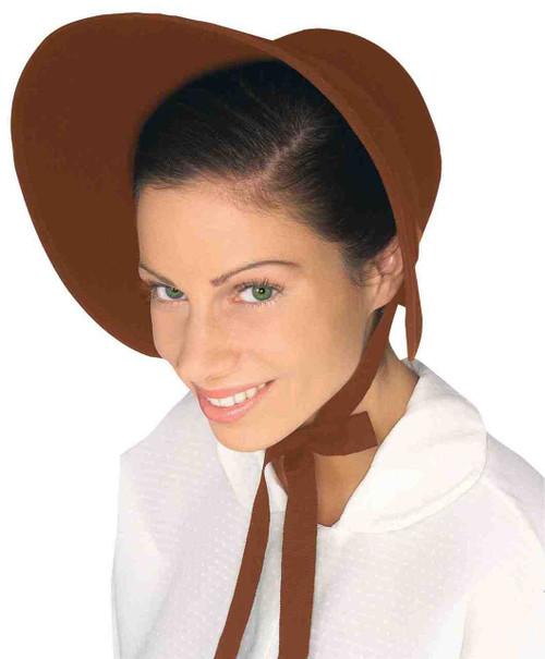 Brown Felt Classic Costume Bonnet
