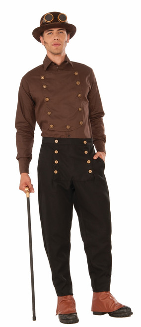 Formal Brown Steampink Shirt with Buttons