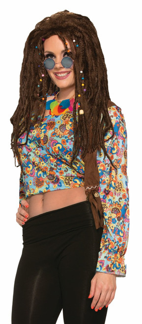 Long Brown Hippie Dreads with Beads