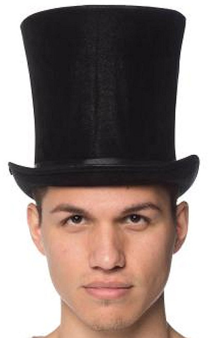 Suede-Like Classic Tall Top Hat (BLACK)