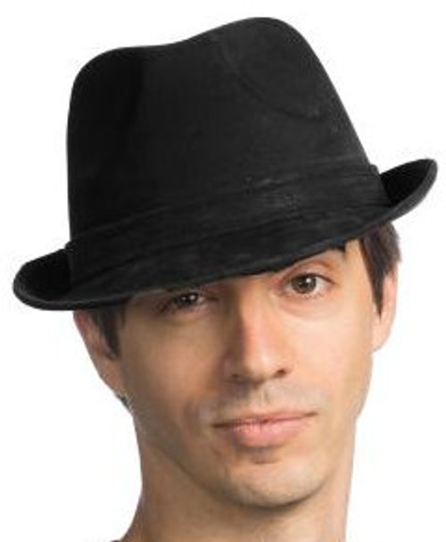 Leather-Like Black Gangster Fedora