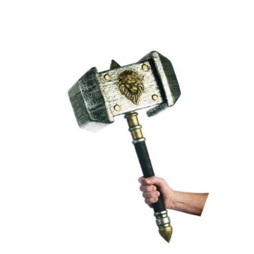 Silver & Gold Lion Emblem War Hammer
