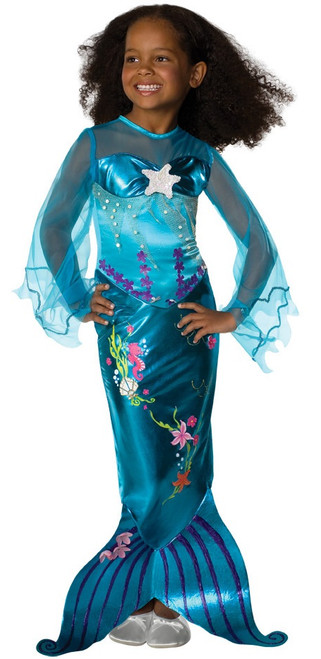 Child Beautiful Blue Mermaid Costume