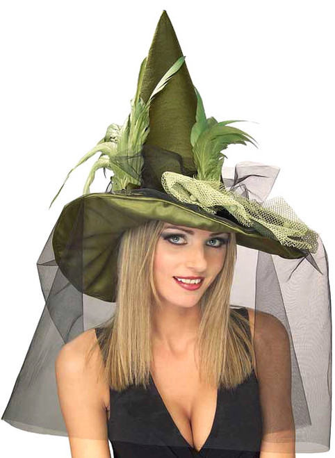 Veiled Greeen & Feathered Witch Hat