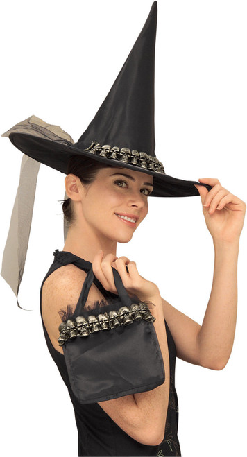 Skull Witch Hat with Matching Bag