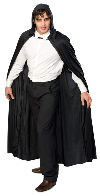Long Black Hooded Costume Cape