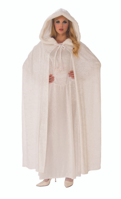 White Wintery Long Hooded Costume Cape