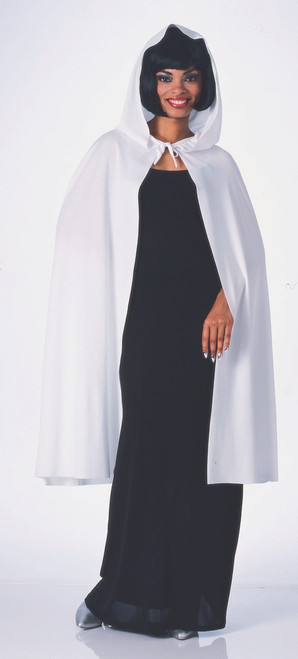 Basic White Hooded Satin-Like Costume Cape