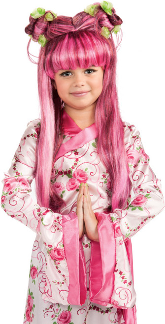 Kids Pink Asian Princess Costume Wig