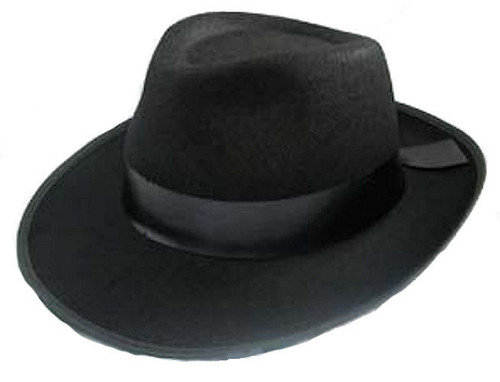 Black Felt Gangster Hat - XL