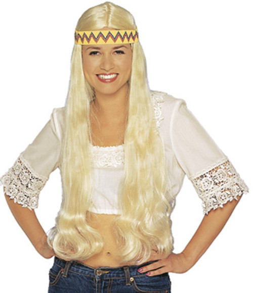 Long Hippie Wig with Bandanna - Blonde