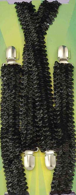 Sequin Suspenders - Black