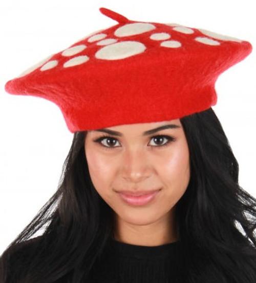 Red Felt Mushroom Hat