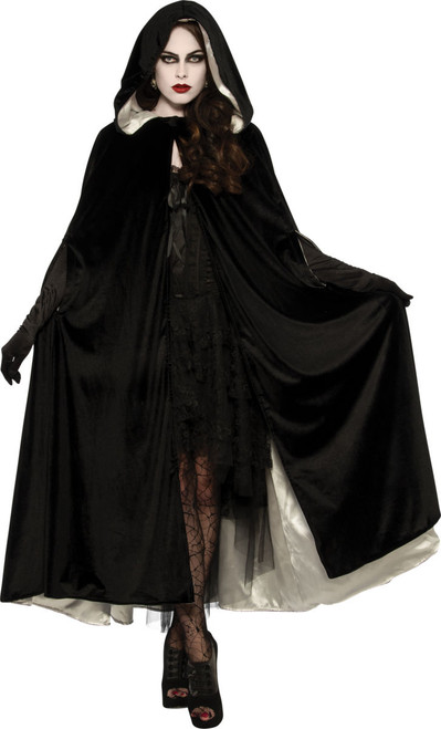 Reversible Black & White Velvet Cape