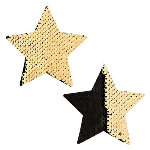 NIPZTIX Nipple Pasties - Athena Black & Gold Sequin Stars