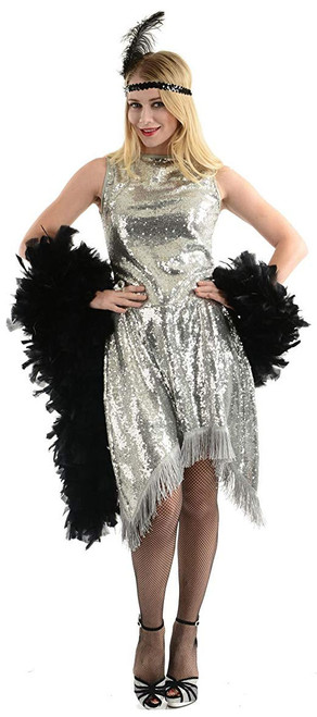 20s Silver A-Line Flapper Costume