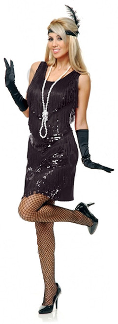20s Black Four Tier Flapper Costume