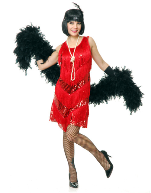 20s Red Four Tier Flapper Costume