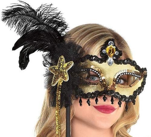 Glitzy Masquerade Stick Mask