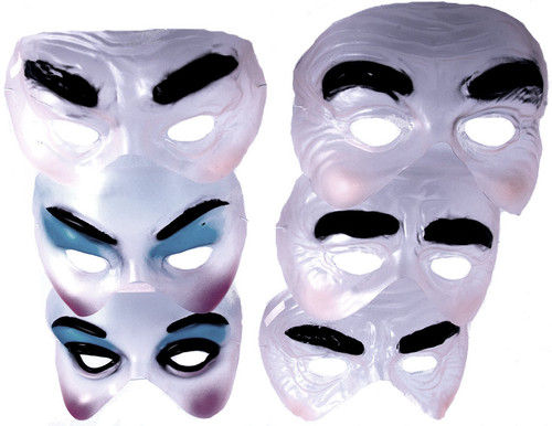 Transparent Half Masks, Assorted - In-store only
