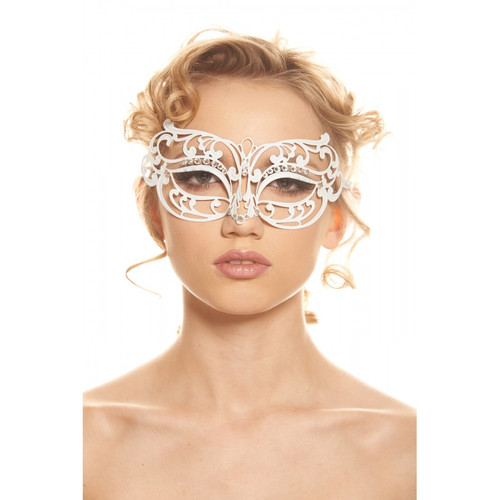 White Laser-Cut with Clear Stones Mask
