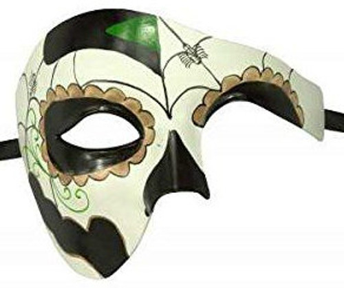 Day of the Dead Black/Green Mask