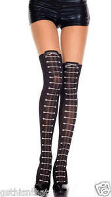 Women's Thigh High Stocking with Lace Up Design