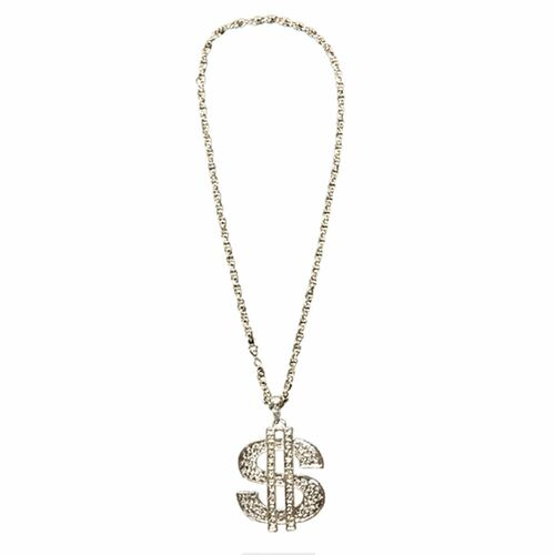 """Dollar Sign Silver Necklace 27"""""""