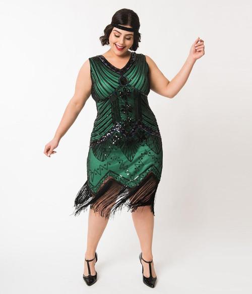 Veronique Green Flapper Dress - Plus Size