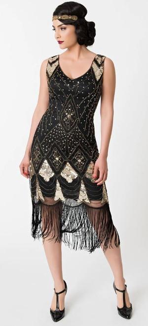 Lina Black & Gold Flapper Dress