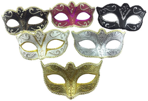 Venetian Glitter Trim Eye-Mask - 6 Colours!
