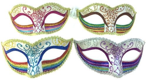 White Glitter Rainbow Venetian Eye-Mask - 4 Colours!