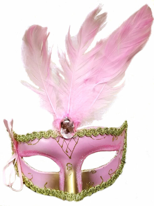 Pink Bow Plume Venetian-Like Mask