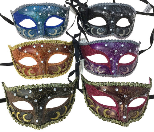 Venetian-Style Masks Asst. Colours - In-store only