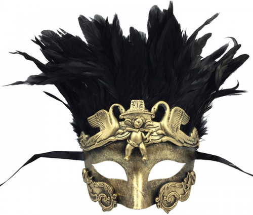 Roman-Style Mask with Feathers