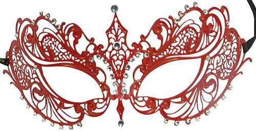 Red & Silver Laser-Cut Venetian Eye-Mask