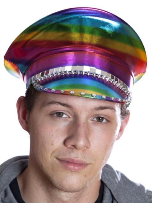 Rainbow Military-Style Festival Hat
