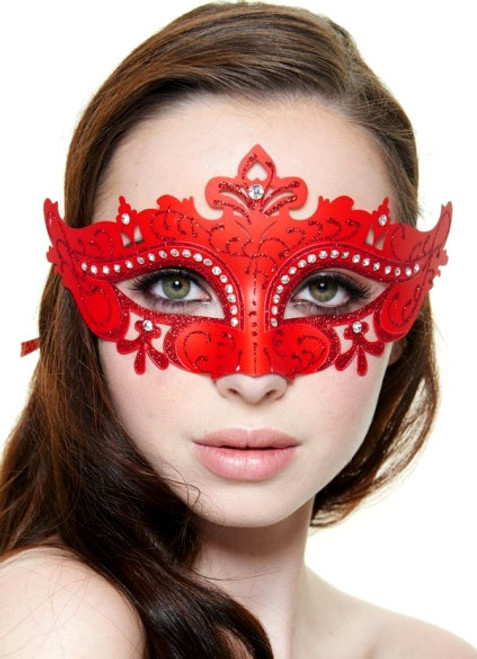 Red Molded-Plastic Masquerade Mask with Glitter and Clear Rhinestones