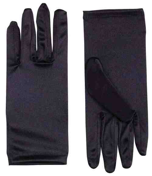 Black Satin Wrist Gloves